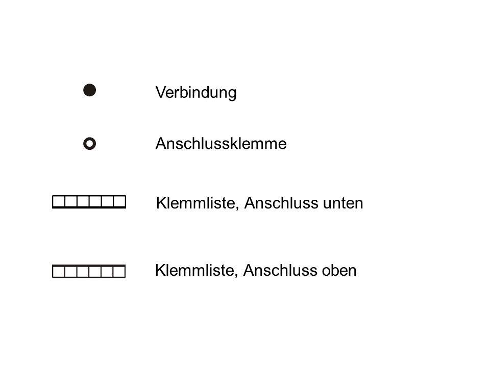 Verbindung Anschlussklemme Klemmliste, Anschluss unten Klemmliste, Anschluss oben