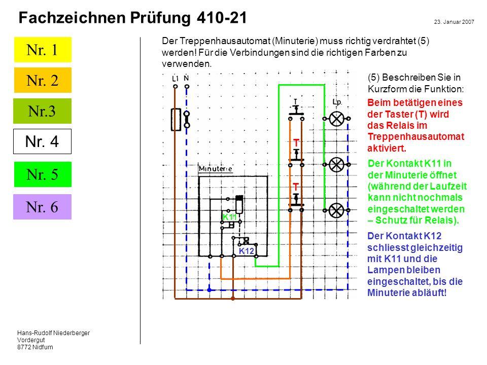 Der Treppenhausautomat (Minuterie) muss richtig verdrahtet (5) werden