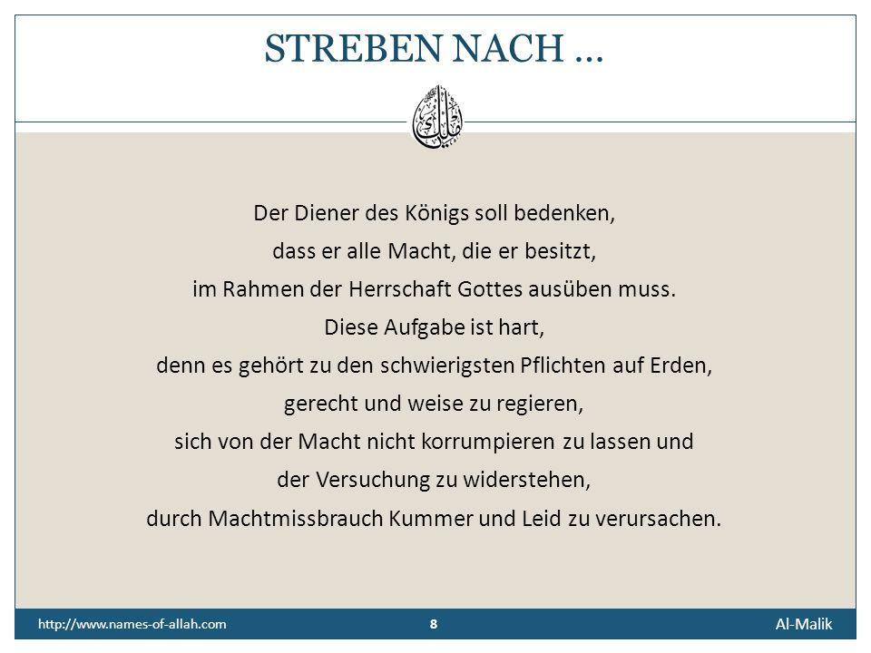 STREBEN NACH … Der Diener des Königs soll bedenken,