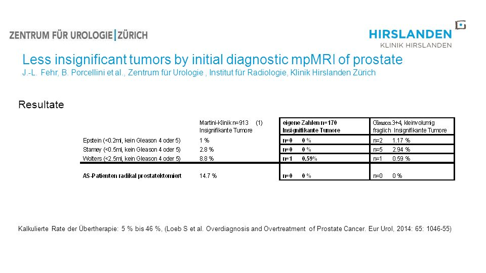 Less insignificant tumors by initial diagnostic mpMRI of prostate