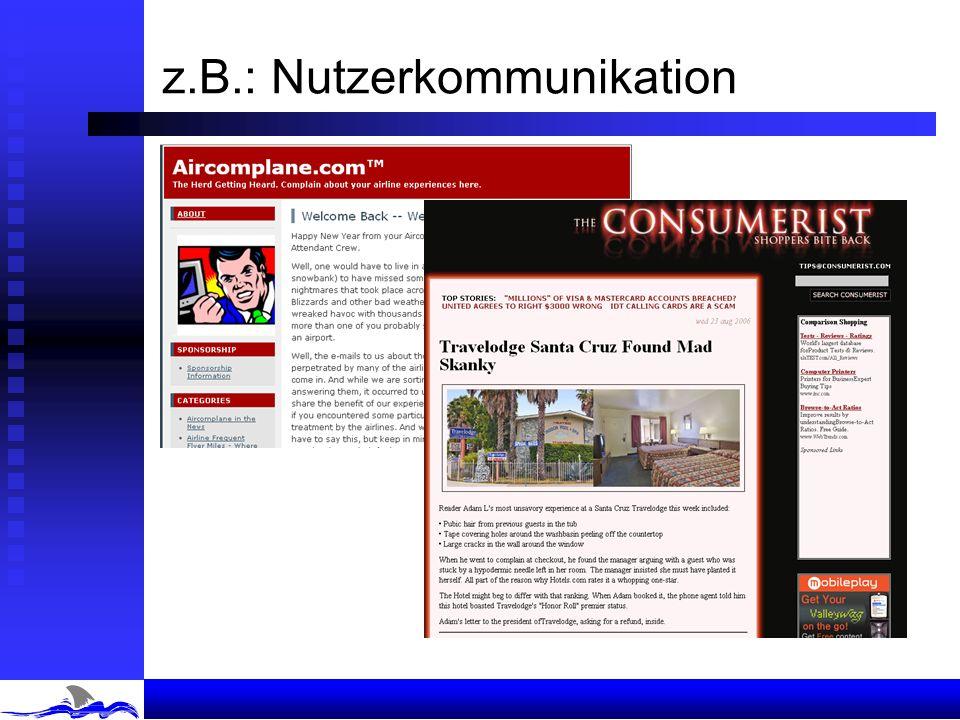 z.B.: Nutzerkommunikation