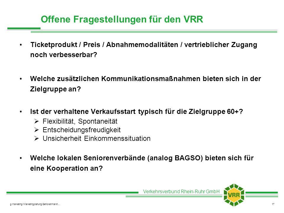 Offene Fragestellungen für den VRR