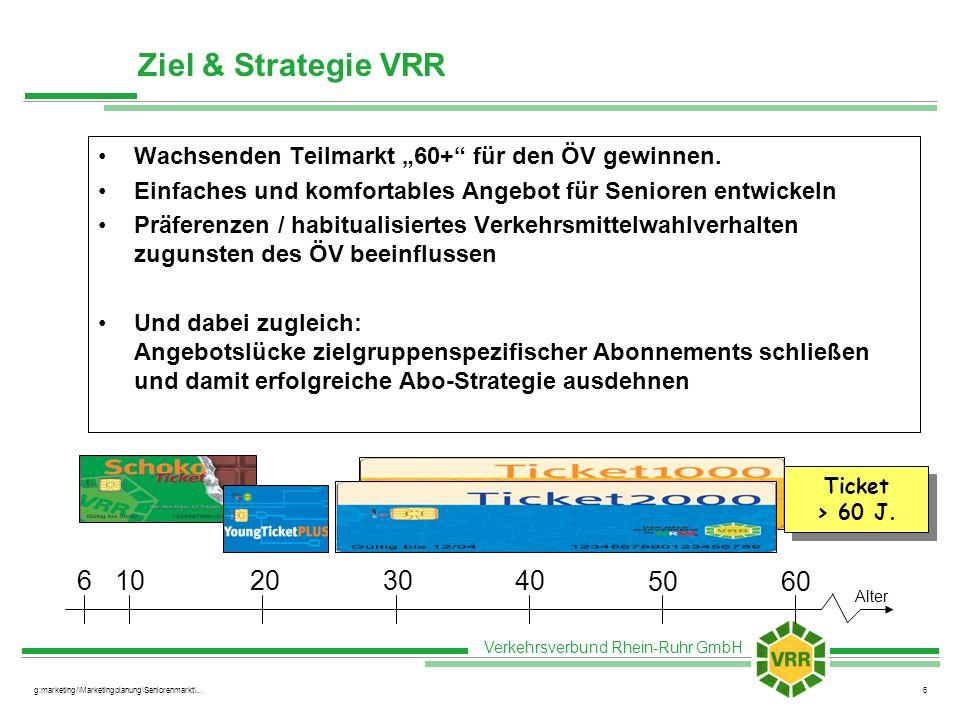 """Ziel & Strategie VRR Wachsenden Teilmarkt """"60+ für den ÖV gewinnen. Einfaches und komfortables Angebot für Senioren entwickeln."""