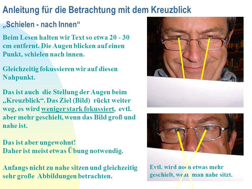 """Anleitung für die Betrachtung mit dem Kreuzblick """"Schielen - nach Innen"""