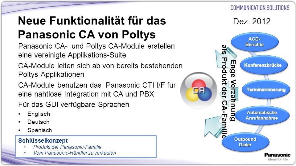 Neue Funktionalität für das Panasonic CA von Poltys