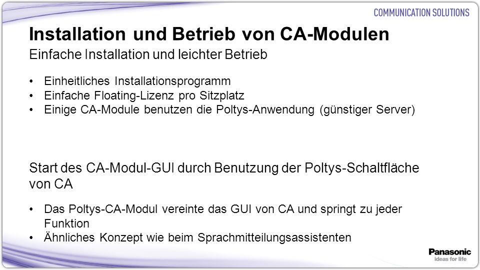 Installation und Betrieb von CA-Modulen