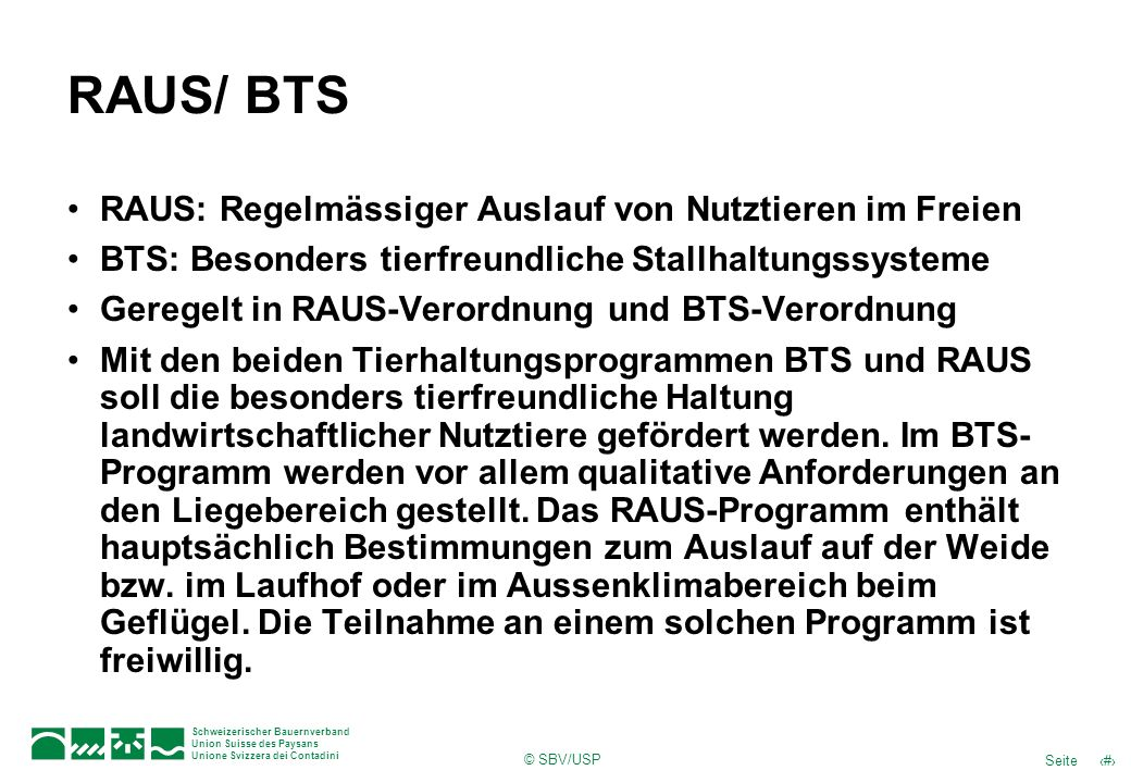 RAUS/ BTS RAUS: Regelmässiger Auslauf von Nutztieren im Freien