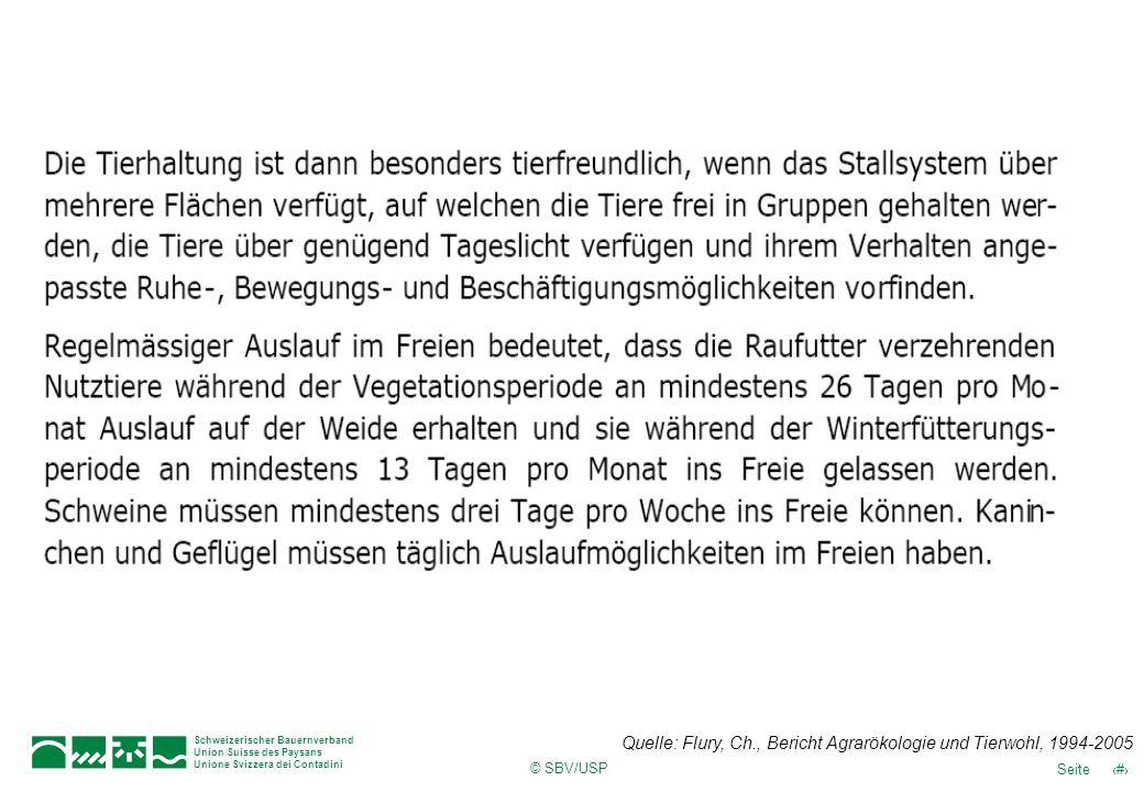 Quelle: Flury, Ch., Bericht Agrarökologie und Tierwohl, 1994-2005