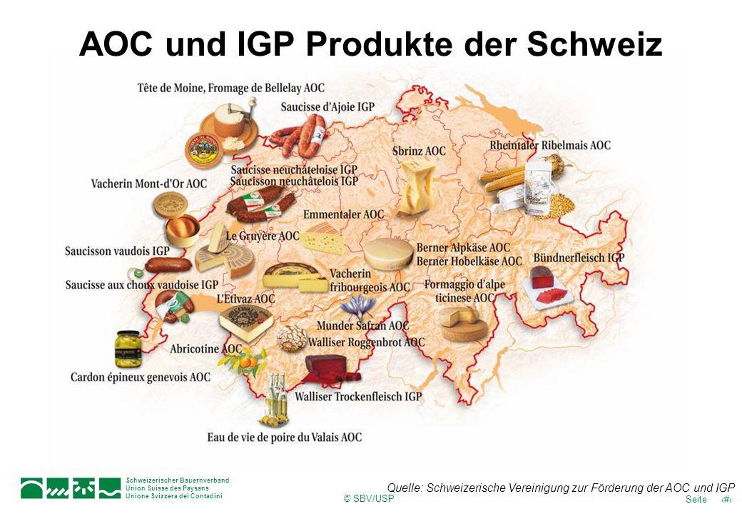 AOC und IGP Produkte der Schweiz