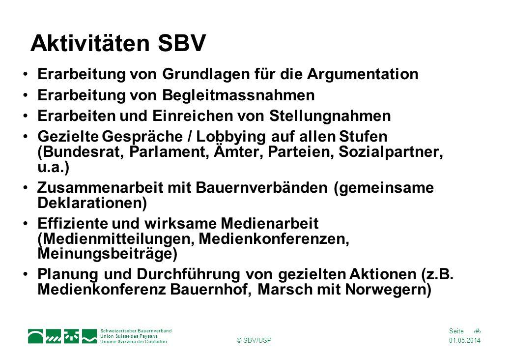 Aktivitäten SBV Erarbeitung von Grundlagen für die Argumentation