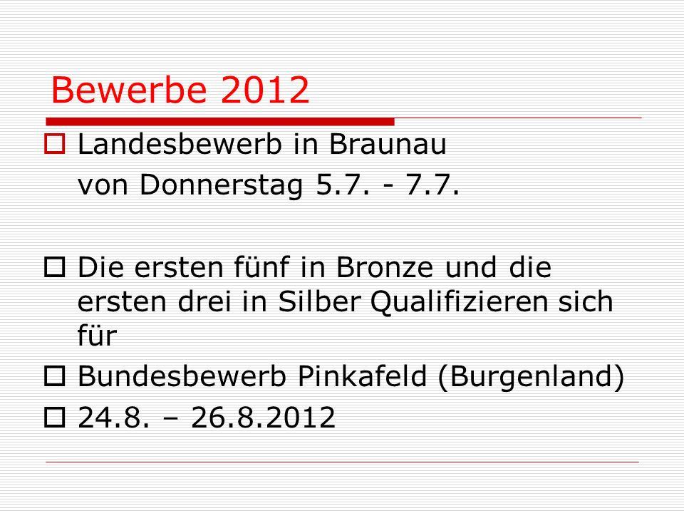 Bewerbe 2012 Landesbewerb in Braunau von Donnerstag 5.7. - 7.7.