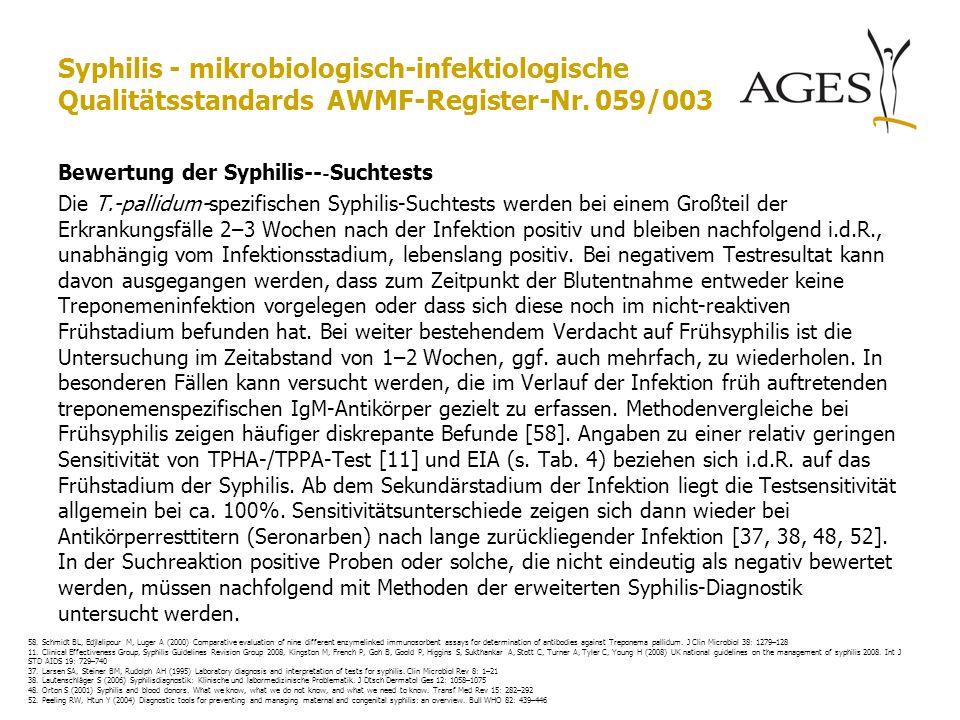 Syphilis - mikrobiologisch-infektiologische Qualitätsstandards AWMF-Register-Nr. 059/003