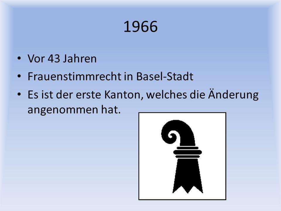 1966 Vor 43 Jahren Frauenstimmrecht in Basel-Stadt