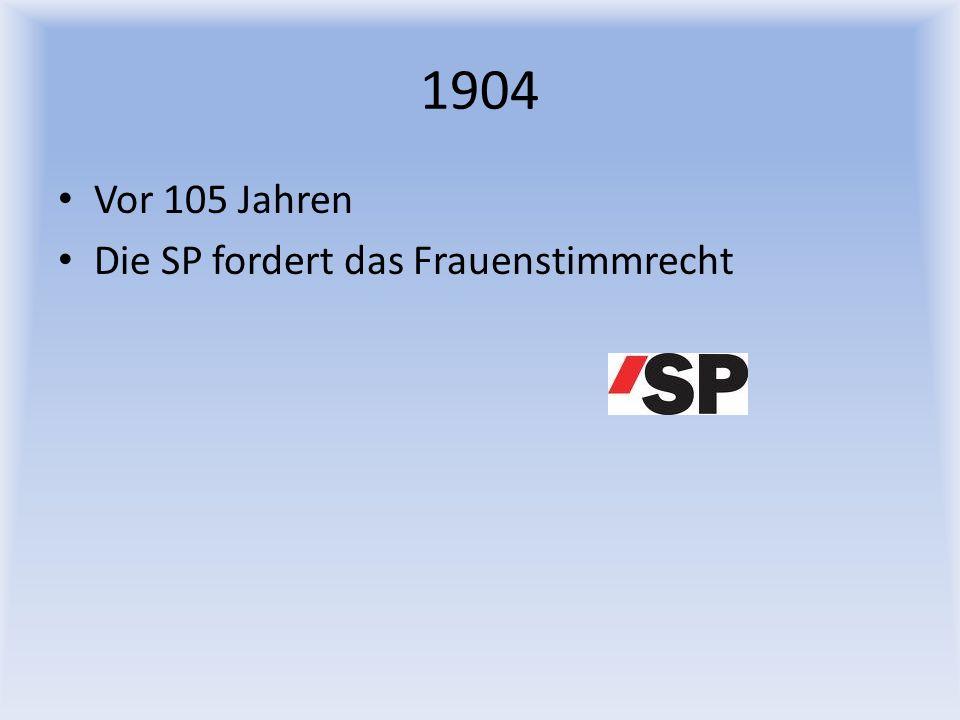 1904 Vor 105 Jahren Die SP fordert das Frauenstimmrecht