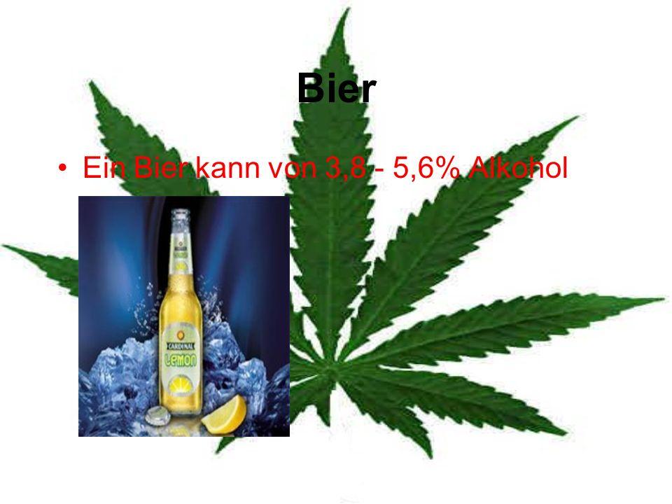 Bier Ein Bier kann von 3,8 - 5,6% Alkohol