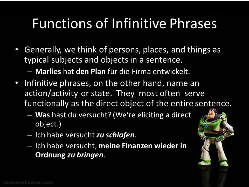 Functions of Infinitive Phrases