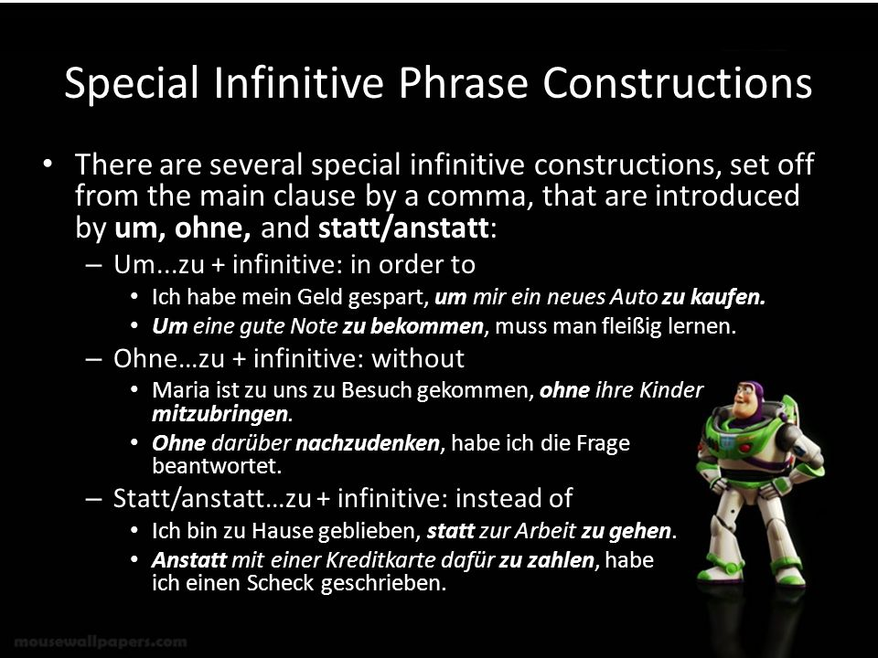 Special Infinitive Phrase Constructions