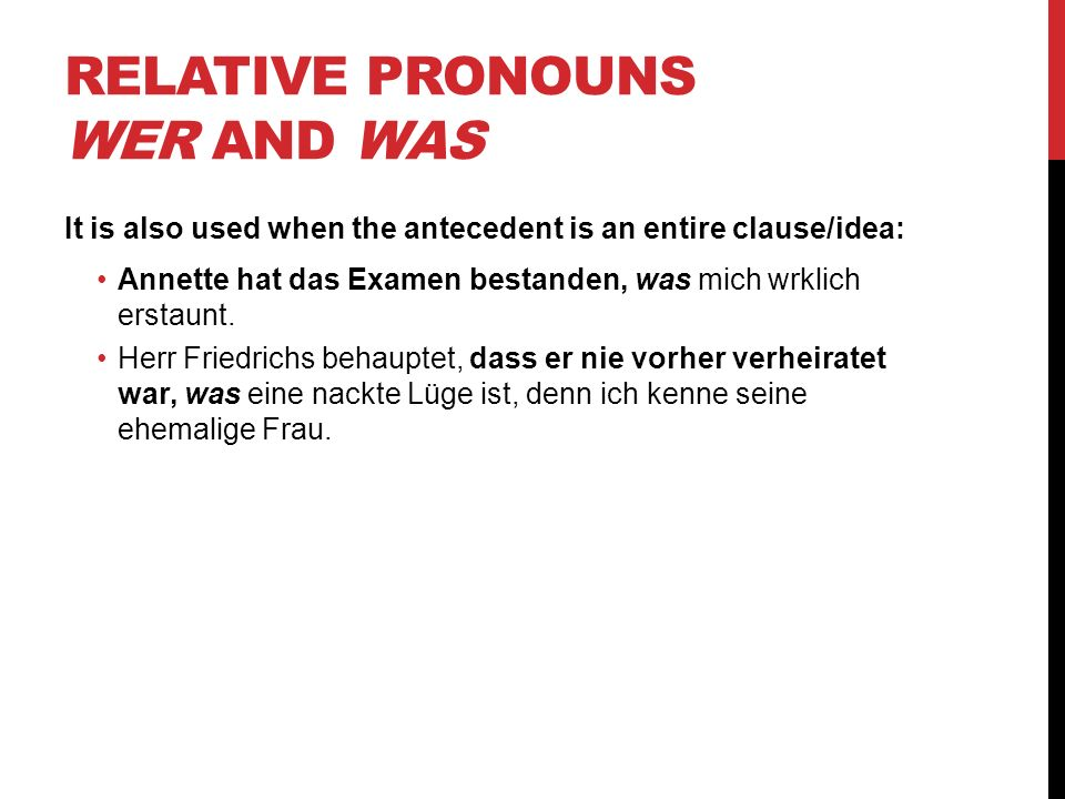 Relative Pronouns wer and was