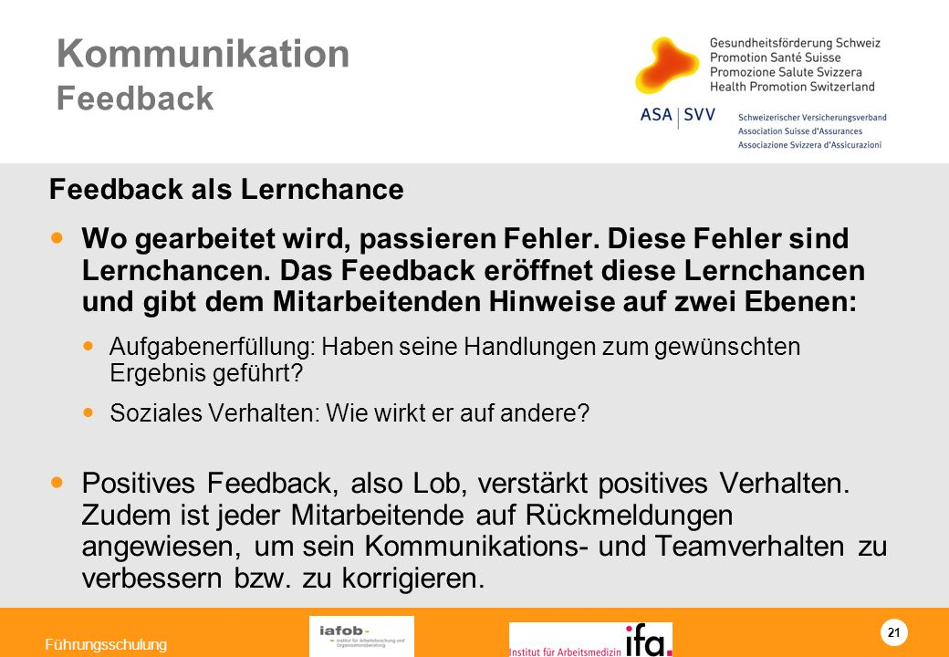 Kommunikation Feedback
