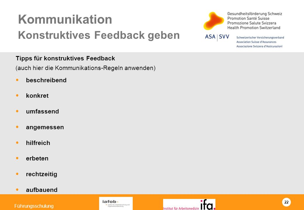 Kommunikation Konstruktives Feedback geben
