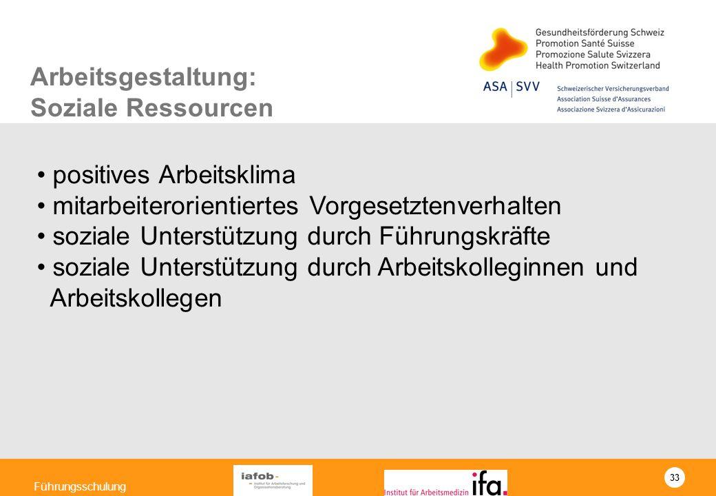Arbeitsgestaltung: Soziale Ressourcen. positives Arbeitsklima. mitarbeiterorientiertes Vorgesetztenverhalten.