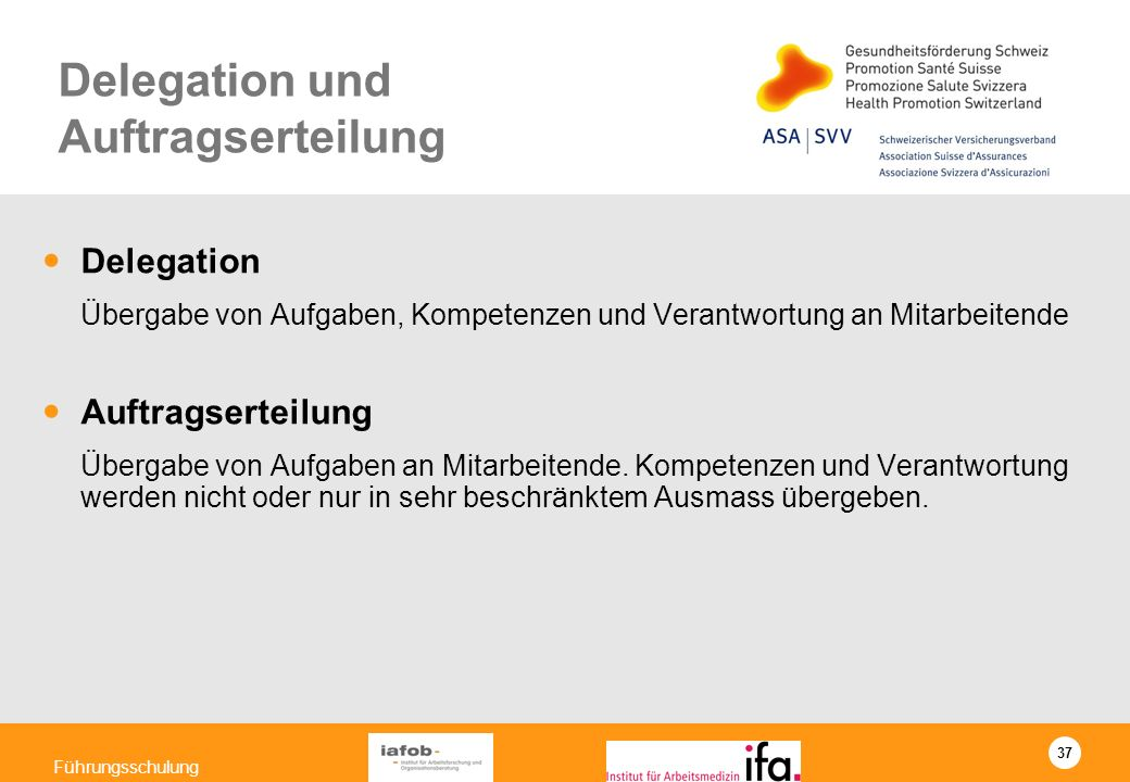 Delegation und Auftragserteilung