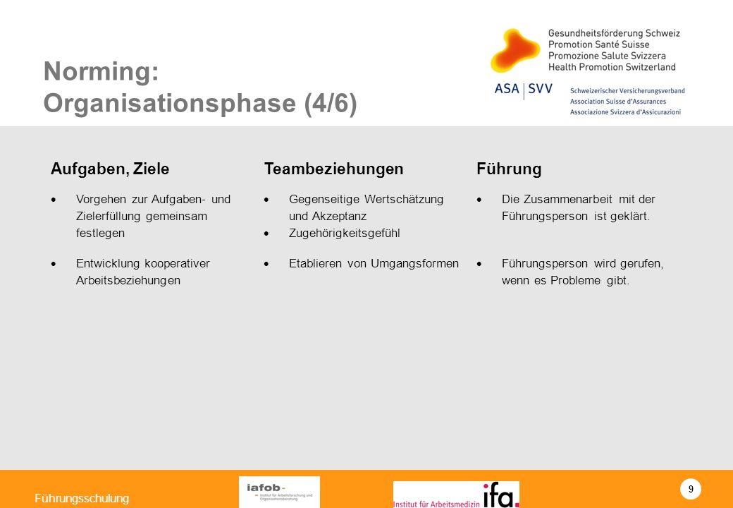 Norming: Organisationsphase (4/6)