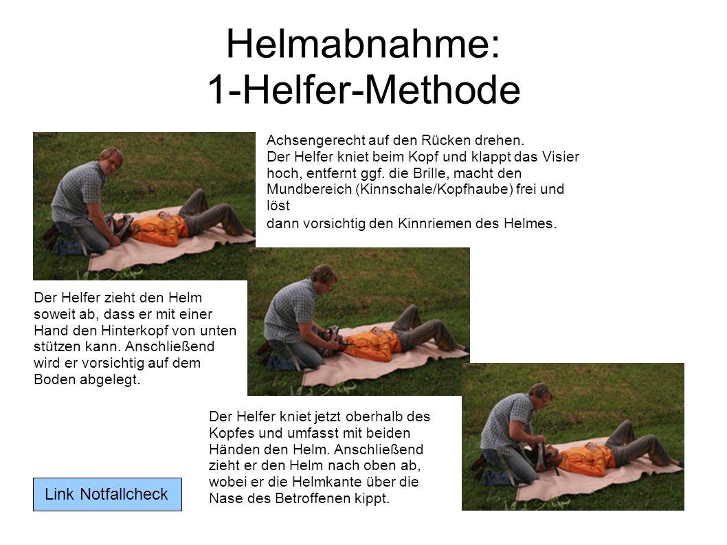 Helmabnahme: 1-Helfer-Methode