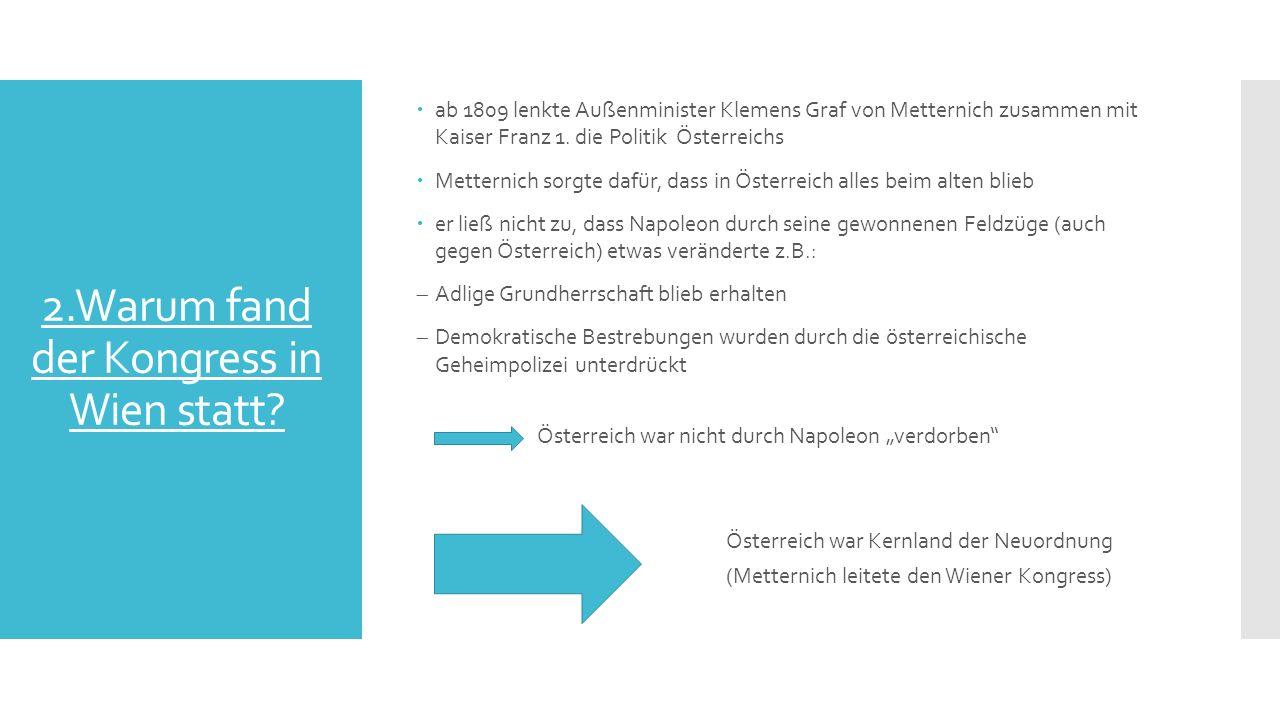 2.Warum fand der Kongress in Wien statt