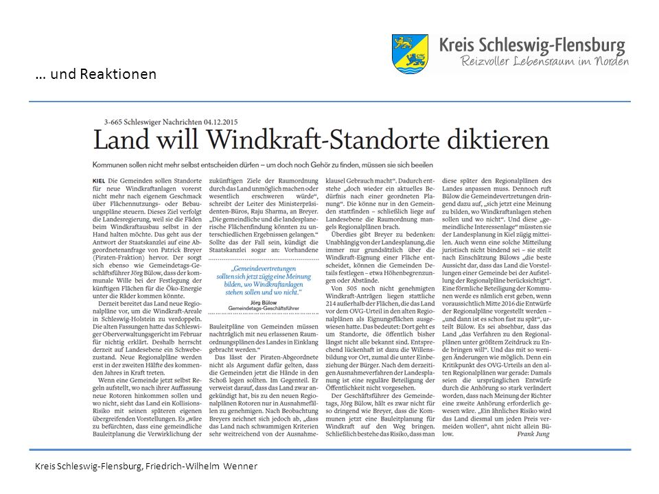 … und Reaktionen Kreis Schleswig-Flensburg, Friedrich-Wilhelm Wenner