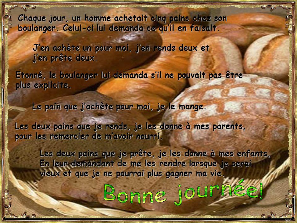 Bonne journée! Chaque jour, un homme achetait cinq pains chez son