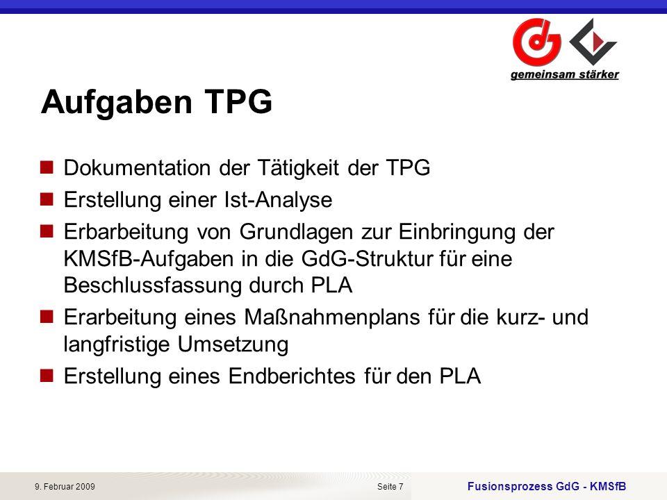Aufgaben TPG Dokumentation der Tätigkeit der TPG