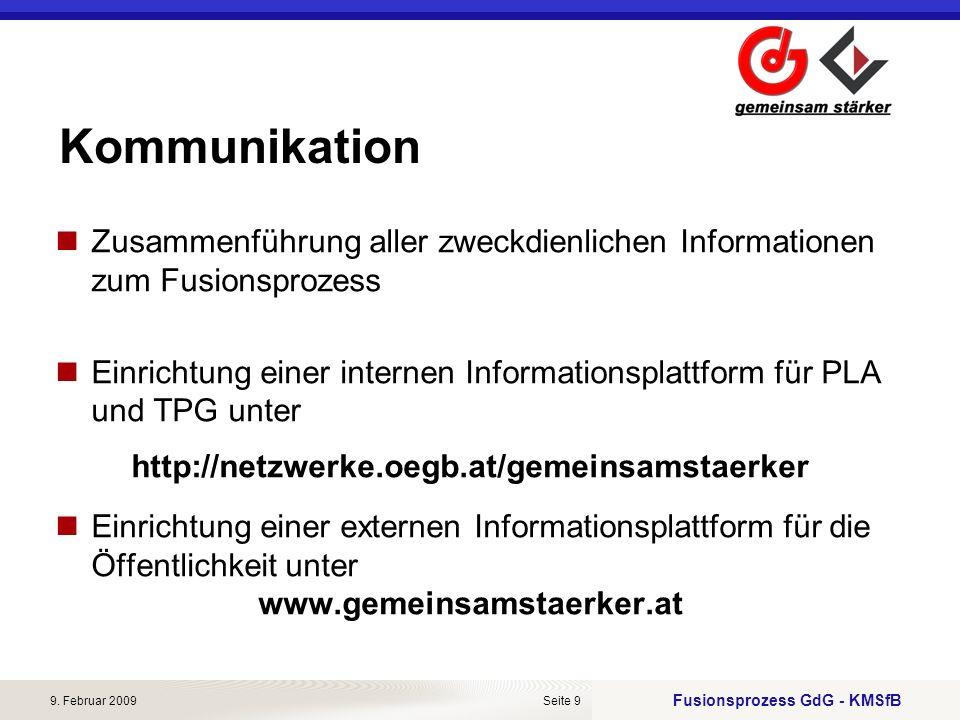 Kommunikation Zusammenführung aller zweckdienlichen Informationen zum Fusionsprozess.