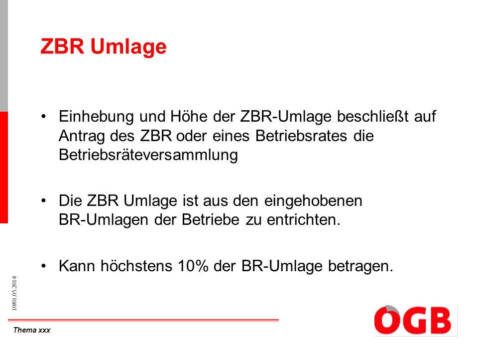 ZBR Umlage Einhebung und Höhe der ZBR-Umlage beschließt auf Antrag des ZBR oder eines Betriebsrates die Betriebsräteversammlung.