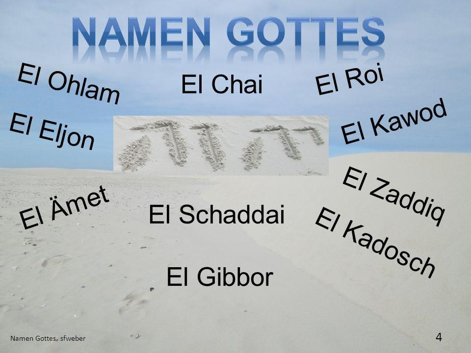 Namen Gottes El Roi El Ohlam El Chai El Kawod El Eljon El Zaddiq