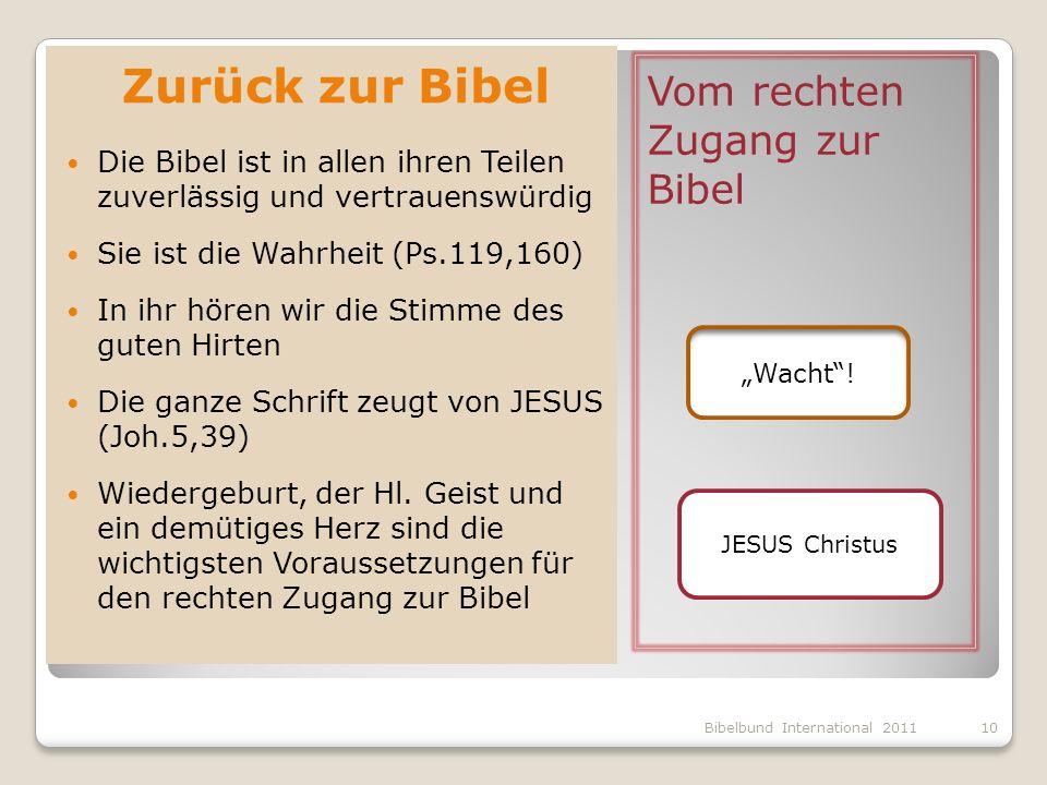 Zurück zur Bibel Vom rechten Zugang zur Bibel