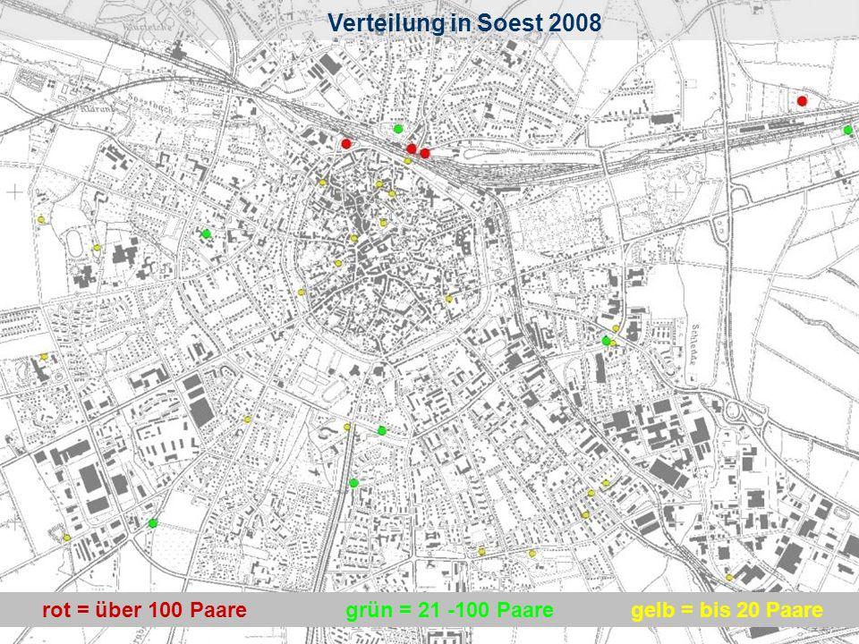 Verteilung in Soest Verteilung in Soest 2008 rot = über 100 Paare