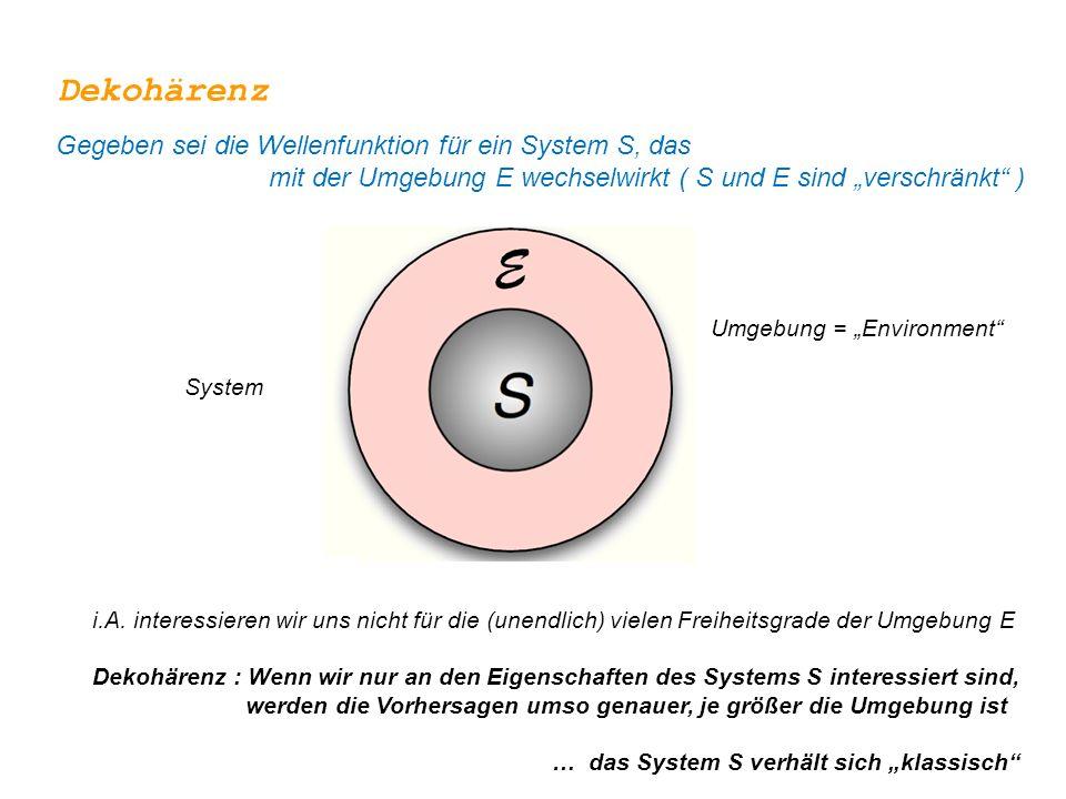 """Dekohärenz Gegeben sei die Wellenfunktion für ein System S, das mit der Umgebung E wechselwirkt ( S und E sind """"verschränkt )"""