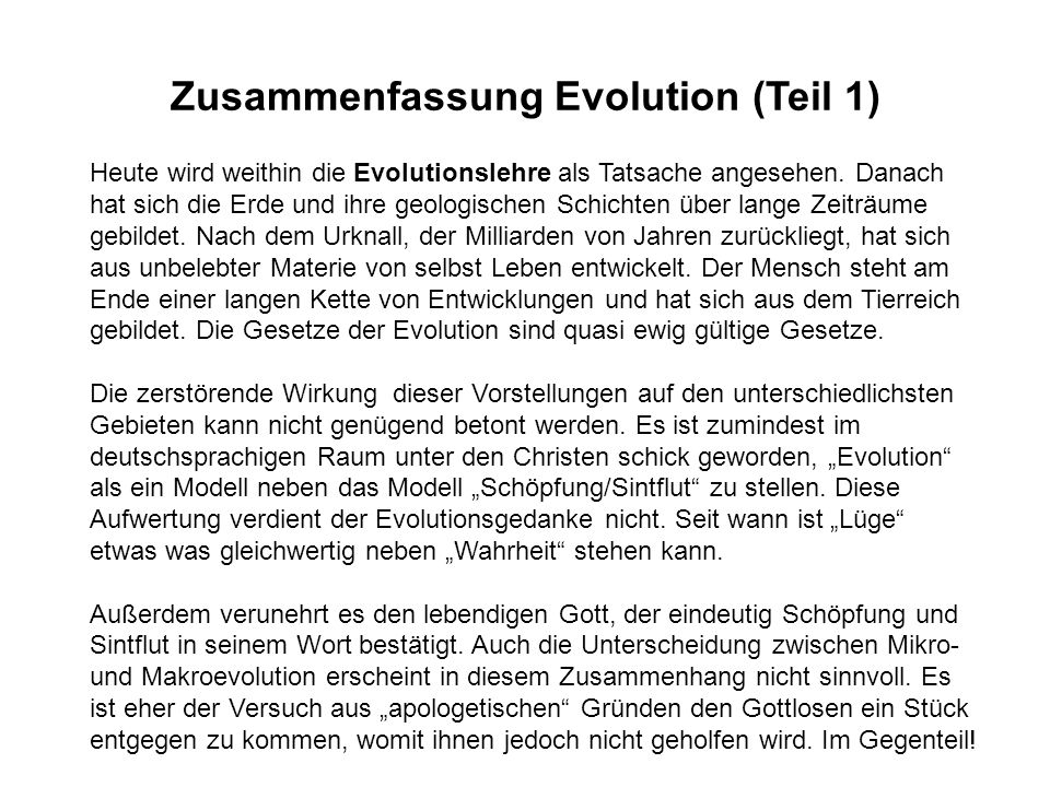 Zusammenfassung Evolution (Teil 1)