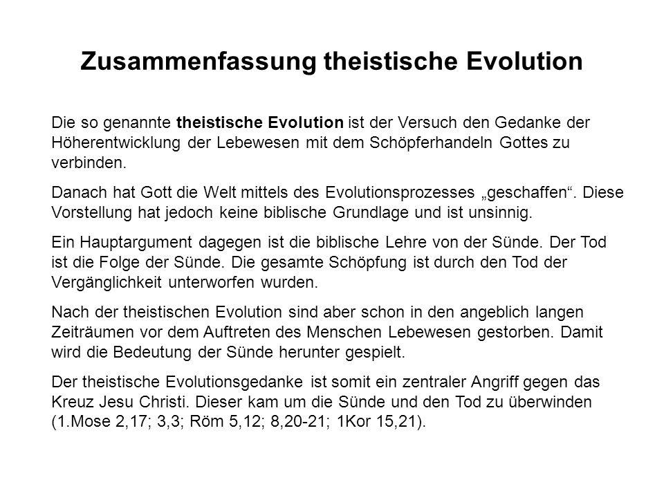 Zusammenfassung theistische Evolution