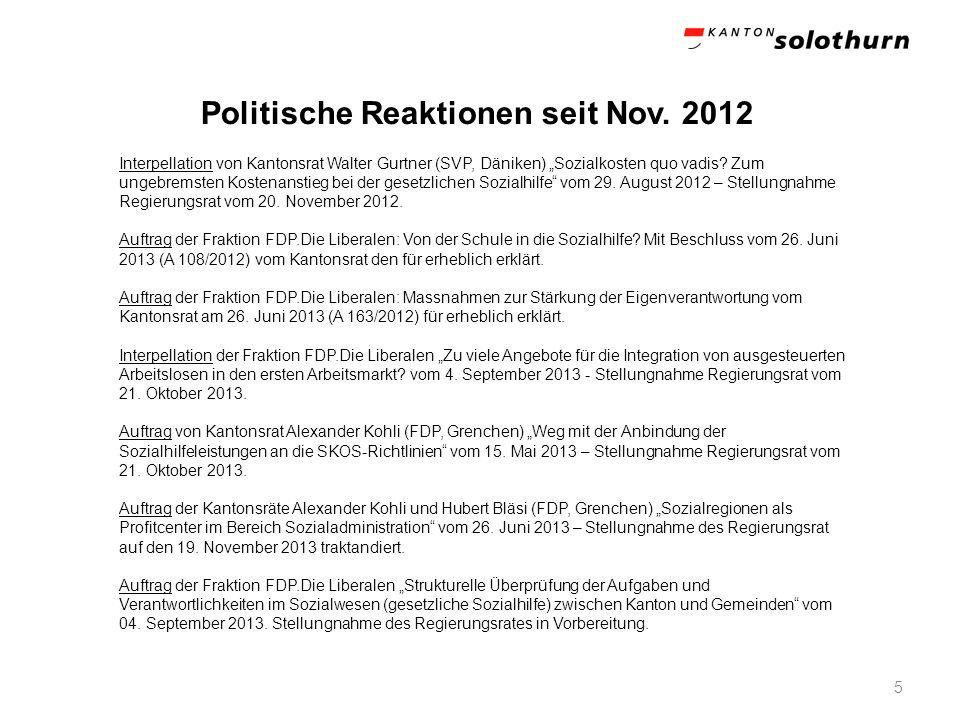 Politische Reaktionen seit Nov. 2012