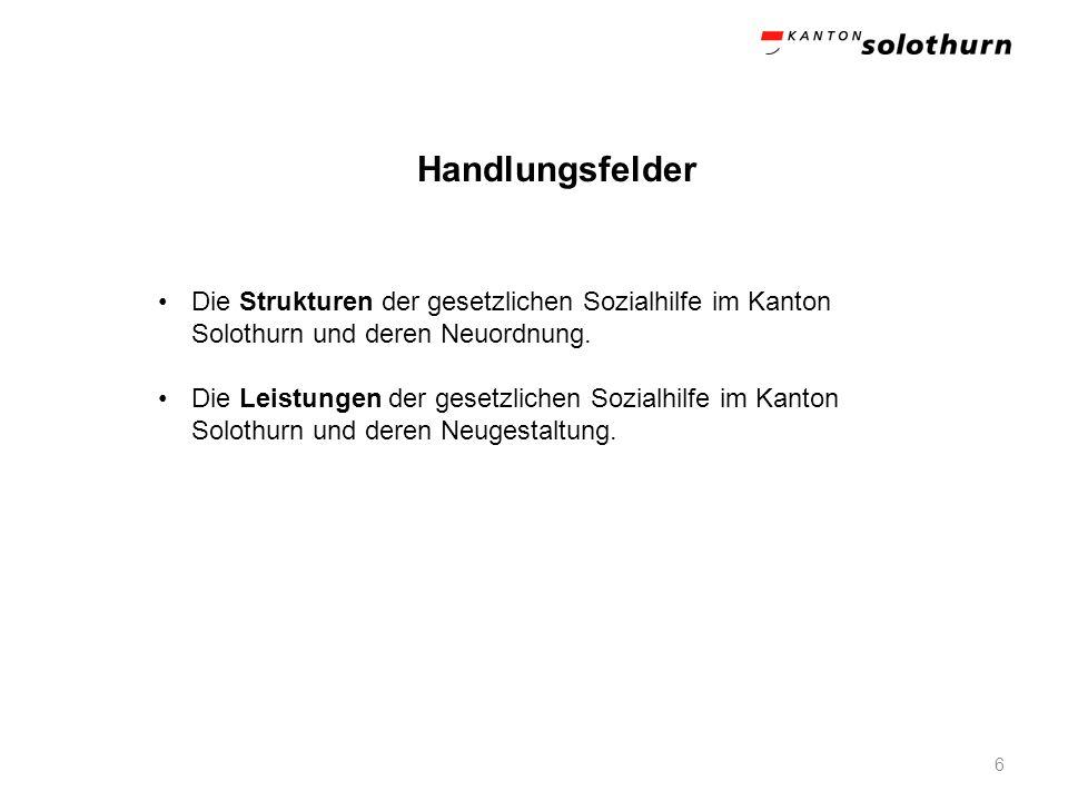 Handlungsfelder Die Strukturen der gesetzlichen Sozialhilfe im Kanton Solothurn und deren Neuordnung.