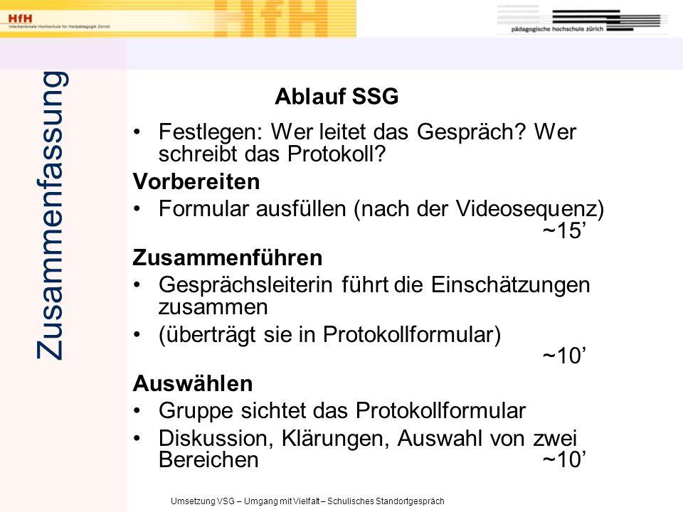 Zusammenfassung Ablauf SSG