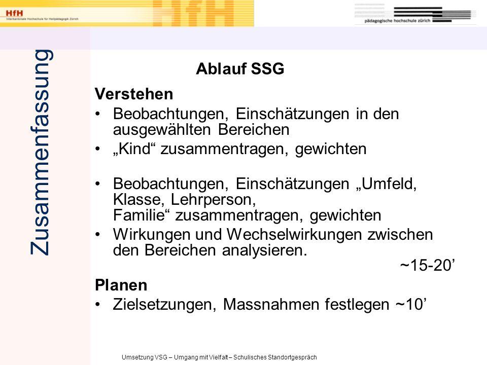 Zusammenfassung Ablauf SSG Verstehen