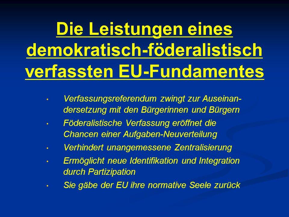 Die Leistungen eines demokratisch-föderalistisch verfassten EU-Fundamentes