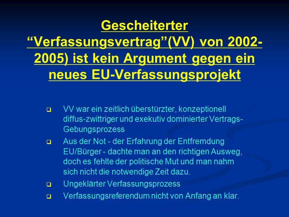 Gescheiterter Verfassungsvertrag (VV) von 2002-2005) ist kein Argument gegen ein neues EU-Verfassungsprojekt
