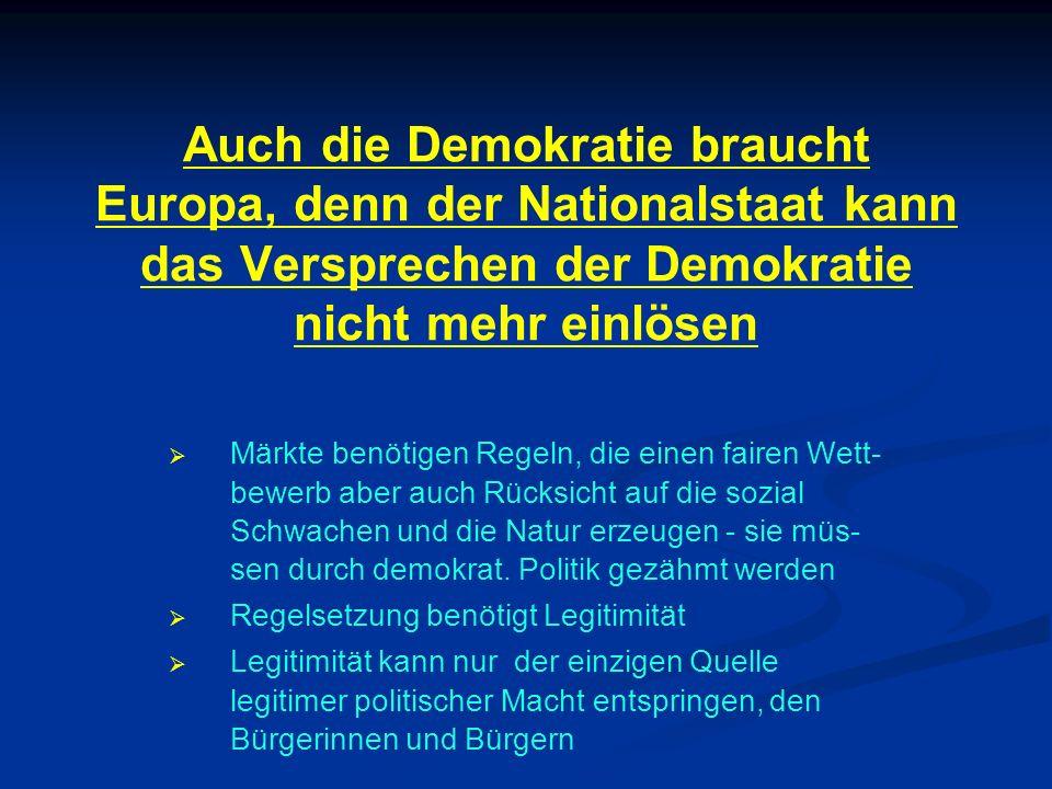 Auch die Demokratie braucht Europa, denn der Nationalstaat kann das Versprechen der Demokratie nicht mehr einlösen
