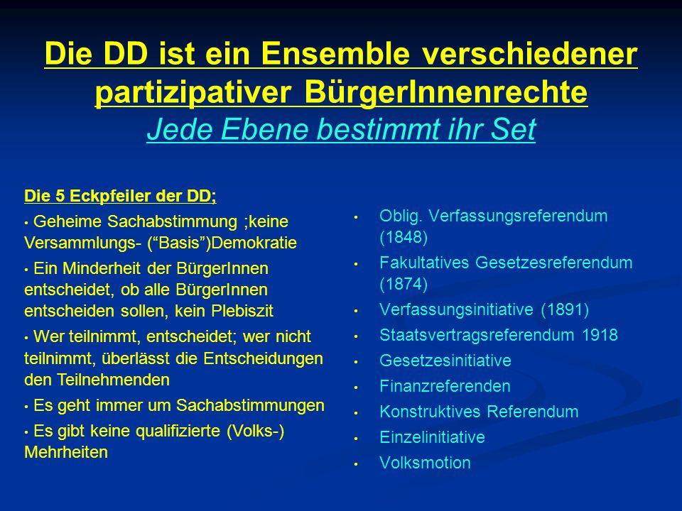 Die DD ist ein Ensemble verschiedener partizipativer BürgerInnenrechte Jede Ebene bestimmt ihr Set