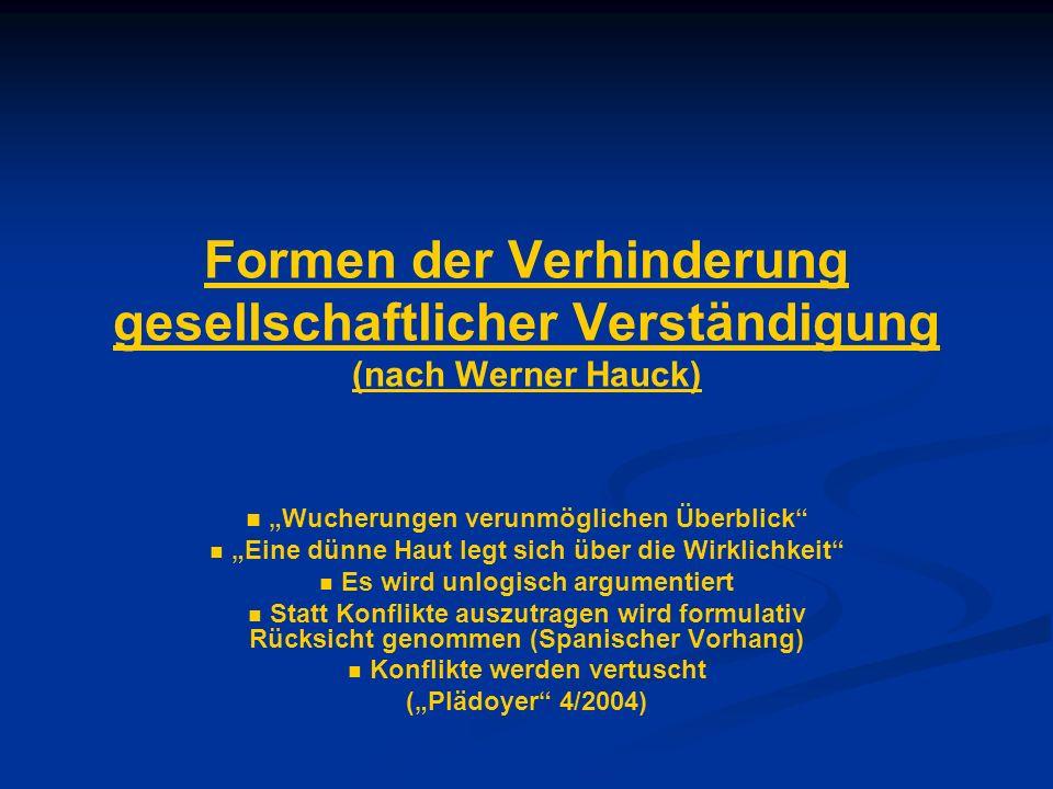 Formen der Verhinderung gesellschaftlicher Verständigung (nach Werner Hauck)