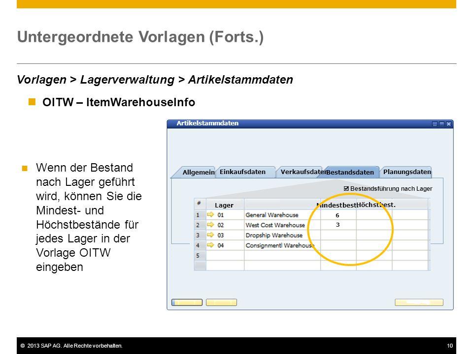 Untergeordnete Vorlagen (Forts.)
